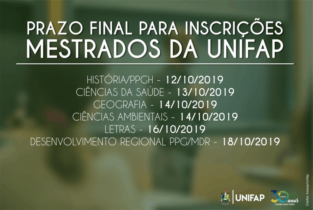 Seis mestrados estão com inscrições abertas na UNIFAP