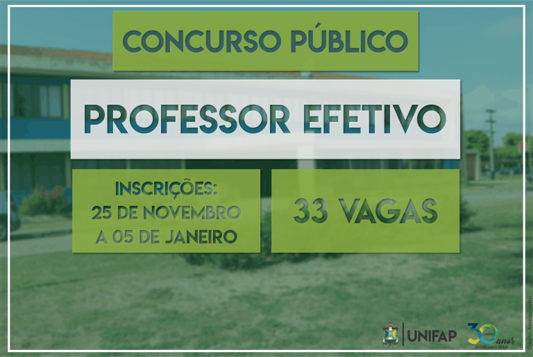 UNIFAP abre concurso para 33 vagas de professor efetivo