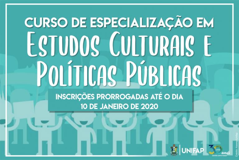 Curso de Especialização em Estudos Culturais e Políticas Públicas encerra inscrições dia 10 de janeiro.