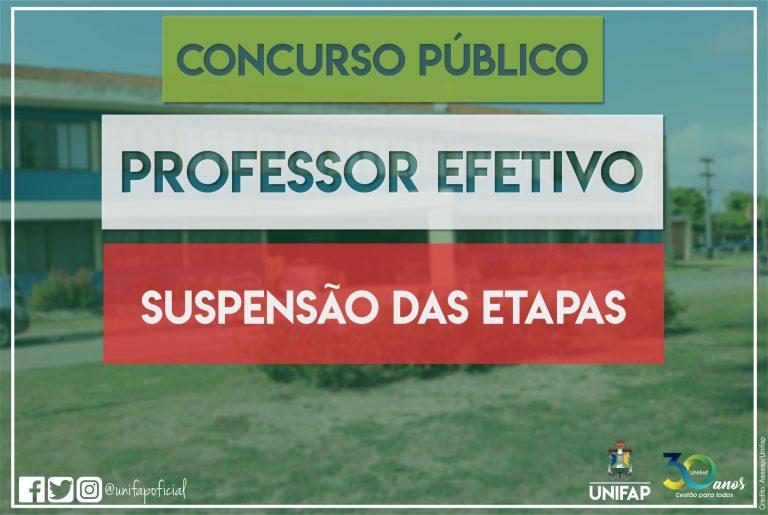 CONVID-19 | Suspensão das etapas do Concurso Público para Professor Efetivo