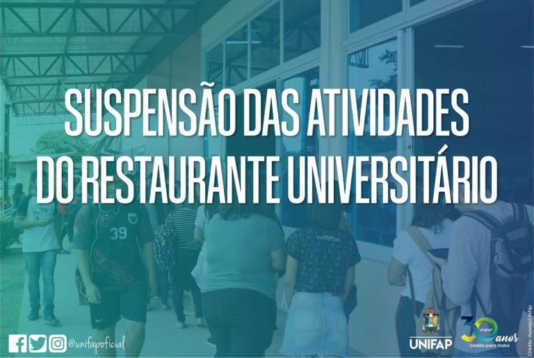 Coronavírus – Restaurante Universitário suspende fornecimento de refeições