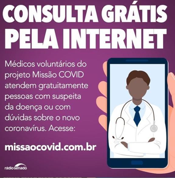 Missão COVID oferece atendimento médico online sobre COVID-19