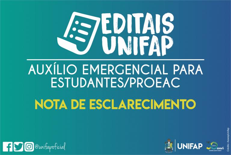 PROEAC/UNIFAP esclarece sobre veracidade dos procedimentos do Auxílio Emergencial