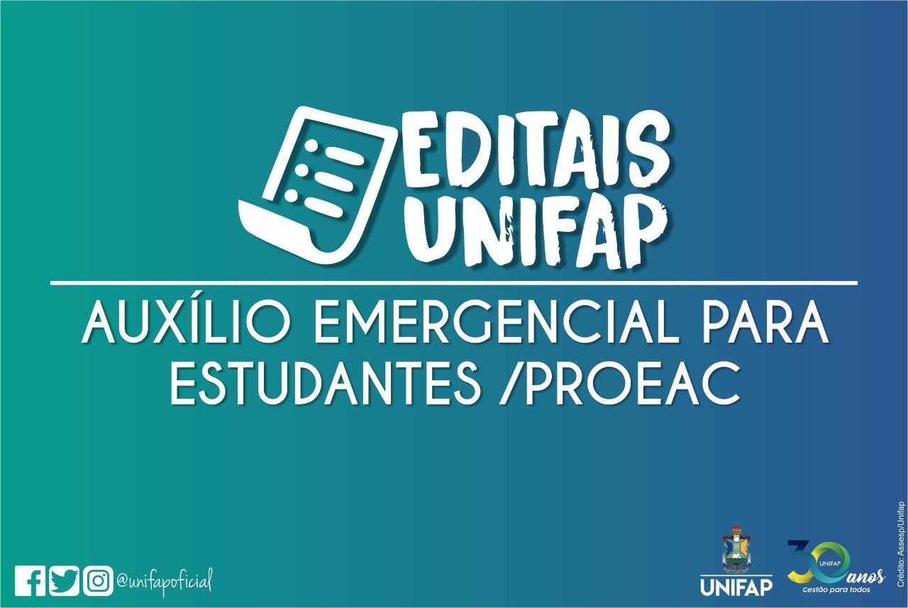 PROEAC segue com auxílio emergencial pecúnia aos estudantes na COVID-19