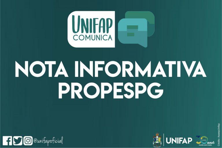 PROPESPG emite nota sobre prorrogação de projetos de pesquisa do PAPESQ/2019