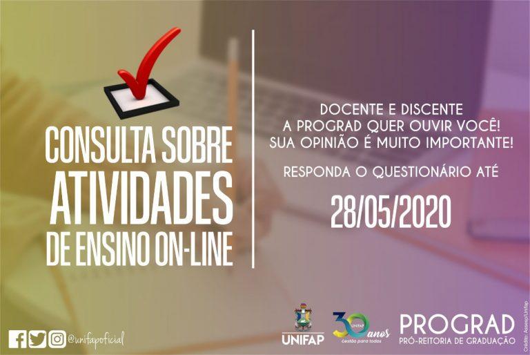 Consulta da PROGRAD sobre atividades de ensino online encerra nesta quinta, 28