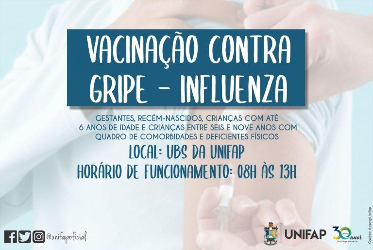 UBS-UNIFAP disponibiliza vacina contra gripe para gestantes e crianças