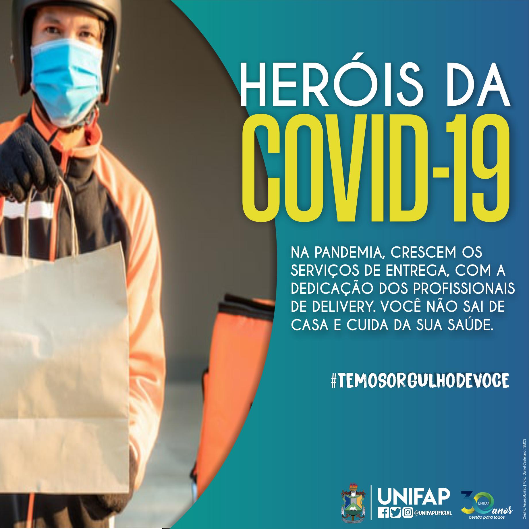 """Ação """"Heróis da COVID-19"""" presta homenagem aos profissionais de delivery"""