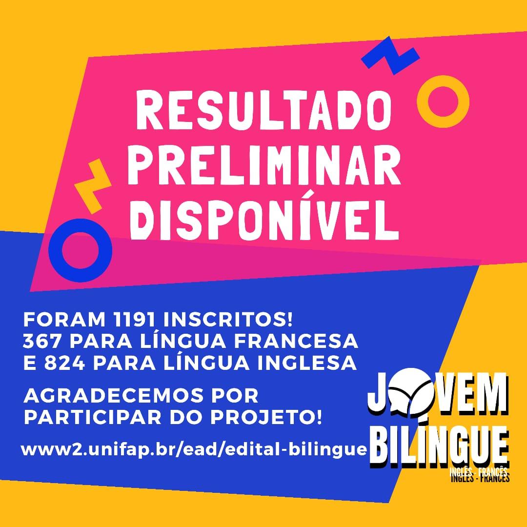 """Projeto """"Jovem Bilíngue"""" divulga resultado preliminar; total de 1191 inscritos"""