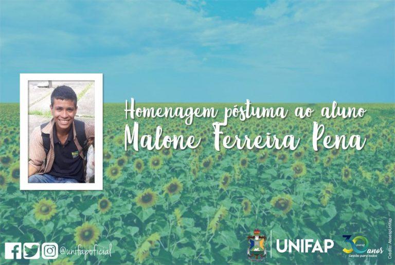 Nota de pesar pelo falecimento do aluno Malone Ferreira Pena