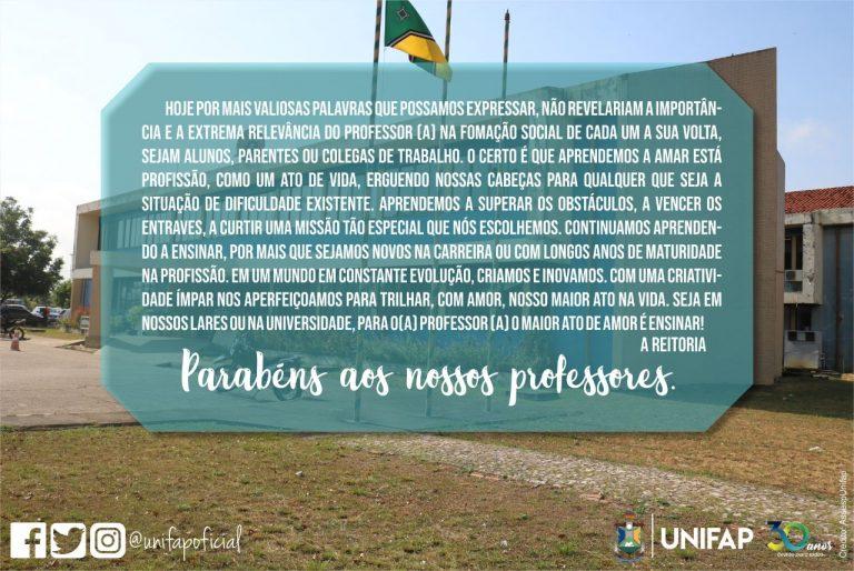 UNIFAP homenageia professores neste 15 de outubro