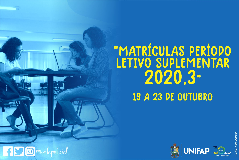 Matrículas em disciplinas do Período Letivo Suplementar iniciam nesta segunda-feira,19