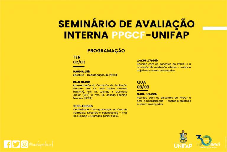 Seminário de Avaliação Interna discutirá o grau de desempenho do Programa de Pós-Graduação em Ciências Farmacêuticas da Unifap