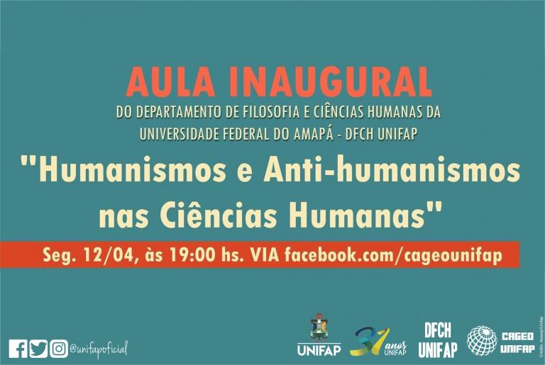 "Convite para aula inaugural ""Humanismos e Anti-Humanismos nas Ciências Humanas"""