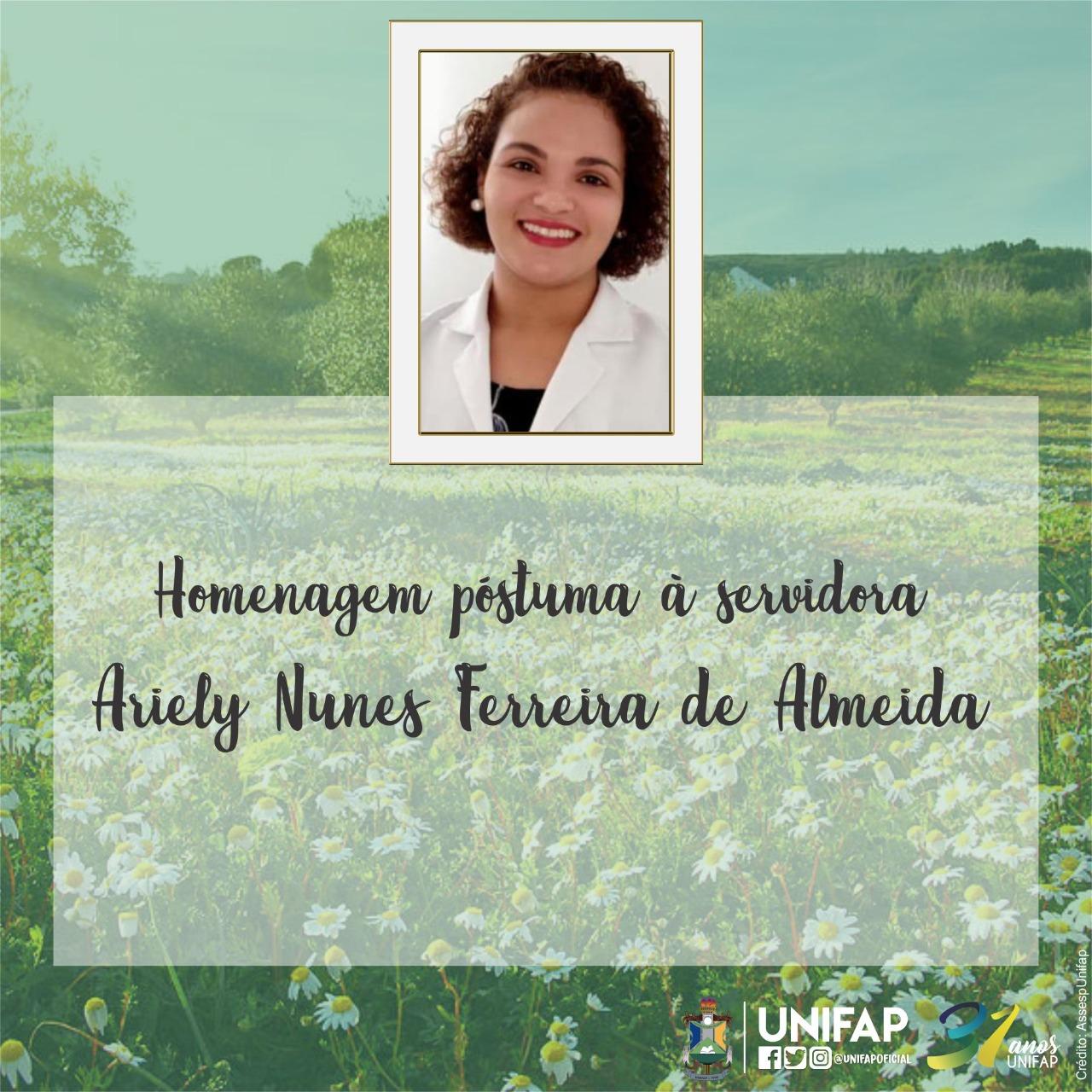 Nota de pesar pelo falecimento da professora Dra. Ariely Nunes Ferreira de Almeida