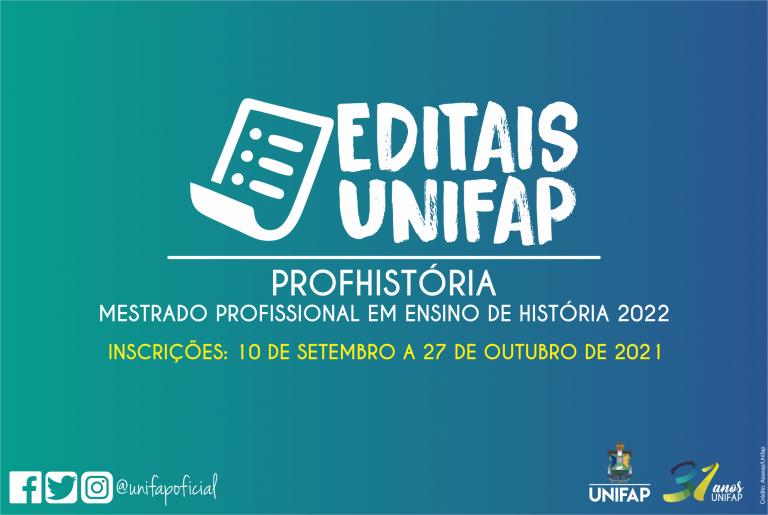 Publicado edital para o Mestrado em Ensino de História (ProfHistória)