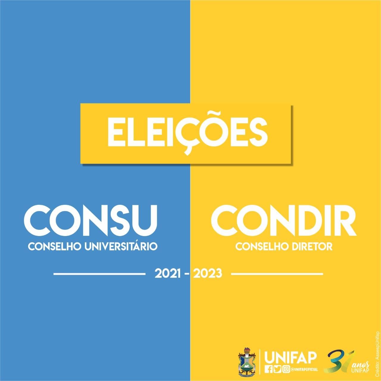CONSU e CONDIR terão eleições para nova composição, período 2021-2023